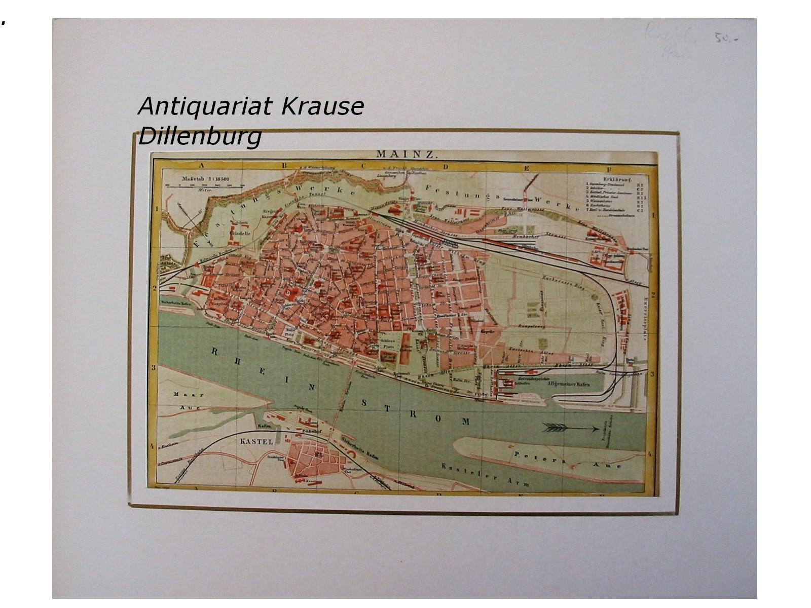 mainz alter stadtplan mit rhein und hafen landkarte 1896. Black Bedroom Furniture Sets. Home Design Ideas